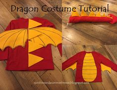 Kids' dragon costume tutorial with step-by-step instructions.