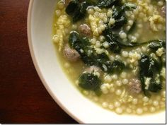 """Italian Wedding Soup--it's not a """"pretty"""" soup, but dang it is tasty! I can't wait for these 100+ temps in Texas to cool down so I can make yummy soups and stews."""