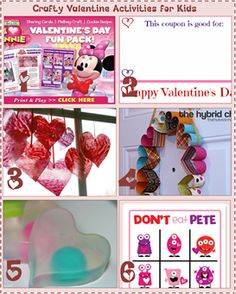 Crafty Valentine Activities for Kids  Coloring pages, projects, and more kid friendly activities!