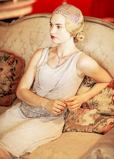 """"""" Lily James on the set of Downton Abbey """""""
