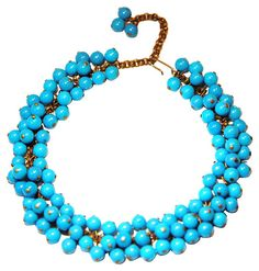 One Kings Lane - Dazzling Bijoux - Blue Lucite Bead Necklace