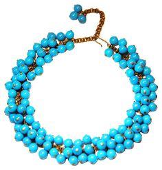 One Kings Lane - Dazzling Bijoux - Blue Lucite Bead Necklace
