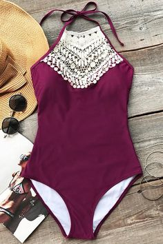 cd17387755f3f We  so in love with our adorable Cupshe Broken Wine Halter One-piece  Swimsuit. Product Code  Details  Halter design With padding bra Tie at back  Croche