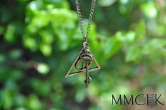 Steampunk Charm Harry Potter Deathly Hallows Necklace by MMCFK