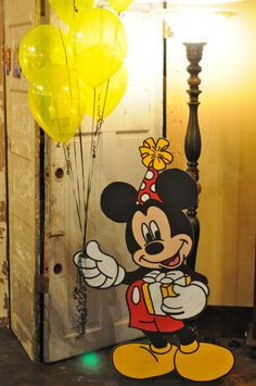 Life-Size Mickey Mouse Cut Out Balloon Holder - TheNewlywedPilgrimage.com