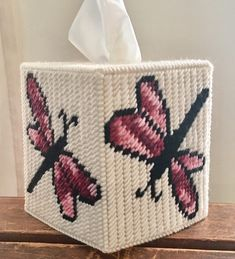Excited to share this item from my shop: Dragonfly Tissue Box Cover Plastic Canvas Tissue Boxes, Plastic Canvas Crafts, Plastic Canvas Patterns, Tissue Box Holder, Tissue Box Covers, Kleenex Box, Crochet Humor, Ppr, Polymer Clay Charms
