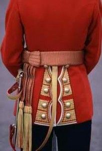 This is the rear detail of an Irish Guards Officer's tunic. Prince William wears the State Sash which is only worn on State occasions where the Queen is in attendance.