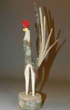 Minnie Adkins Carved Wood Rooster Sculpture