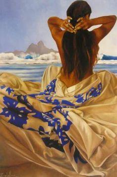 Christian Deloffre, Poster, 40×60cm Hawaiian Woman, Hawaiian Art, Polynesian Art, Polynesian Designs, Polynesian Culture, Hawaiian Mythology, Hula Dancers, Tropical Art, Tropical Paintings