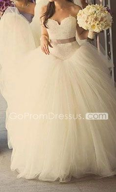 Beautiful wedding dress! Princess ball gown sweetheart neckline grey sash! I love it! (: