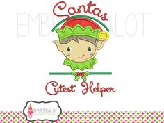 Elf applique embroidery design. Cute Christmas embroidery design in 2 sizes. Boy elf embroidery for Christmas.
