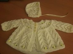 xxdaisychainxx Lemon baby girls ROSEBUD hand knit layette, matinee jacket , cardigan BIRTH to 3 months and matching BONNET