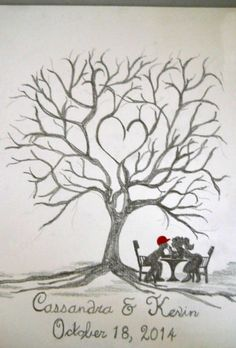 fall tree fingerprint wedding guestbook