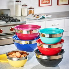 Improvements 12-Pc. Rainbow Mixing Bowl Set ($50) ❤ liked on Polyvore featuring home, kitchen & dining, kitchen gadgets & tools, baking, measuring cups, kitchen containers, kitchen bowls, kitchen accessories, food storage and food prep