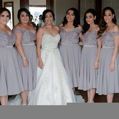 Cap Sleeve Off Shoulder Tea Length Chiffon Lace Grey On Sale Short Young Bridesmaid Dresses, The short bridesmaid dresses are fully lined, 4 bones in the bodice, chest pad in the bust, lace up b Light Grey Bridesmaid Dresses, Off Shoulder Bridesmaid Dress, Grey Bridesmaids, Bridesmaid Dresses Plus Size, Shoulder Dress, Bridesmaid Gowns, Dress Vestidos, Dresses Dresses, Chiffon Dresses