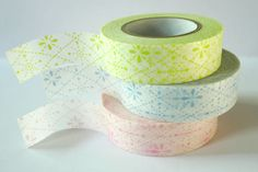 Flower Stitch Pink Blue Green Japanese Washi Tape Set of 3 packaging and gift wrap. $11,50, via Etsy.