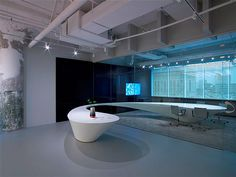 Cool Corian meeting table.