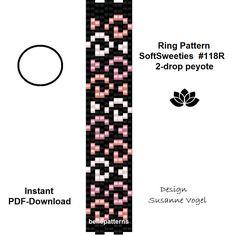 peyote ring pattern,PDF-Download, #118R2, 2 drop peyote, beading pattern, beading tutorials, ring pattern design,pdf file,download von bellepatterns auf Etsy