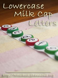 Lower Case Milk Cap Letters (& Intro to Alphabetical Order) « Shannon's Tot School Name Activities Preschool, Pre K Activities, Preschool Letters, Alphabet Activities, Preschool Activities, Preschool Printables, Teaching Kids, Kids Learning, Dot Letters