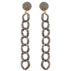 14K Gold Pave Diamond CHAIN Dangle Earrings Vintage Style Jewelry 925 Silver OY #Handmade