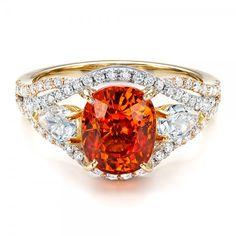 Custom Orange Sapphire Engagement Ring