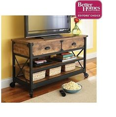 TV Stand Rustic Table Console Living Room Pine Industrial Media Cabinet  Country