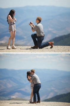 He took her to the top of a mountain in Salt Lake City with a secret photographer to capture their proposal! This whole story is so sweet.