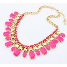 Hot Pink Jewelled Necklace - The perfect finish to a block colour dress, invest in a statement chain to last throughout the seasons.  #pink #trendy #necklace