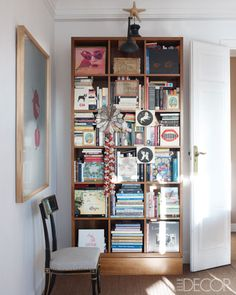 Carolina Herrera Baez's Library: The dining room doubles as a library.