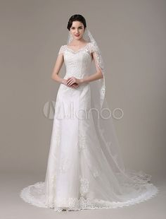 2017 Vintage Lace Bridal Dress With Cap Sleeves And Tiered Train ...