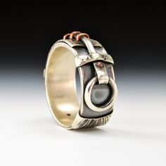 Aaron Sault handmade Sterling Silver and Copper Connections Ring