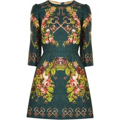 DOLCE AND GABBANA Secret Garden Print Dress (9.895 HRK) ❤ liked on Polyvore featuring dresses, vestidos, short dresses, dolce & gabbana, green, short a line dresses, short floral dresses, floral a line dress, green mini dress and dolce gabbana dress