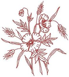 Redwork Fiori e frumento Bouquet ricamo design Folk Embroidery, Learn Embroidery, Cross Stitch Embroidery, Flower Embroidery, Embroidery Ideas, Wheat Flower, Free Machine Embroidery Designs, Farms, Knot