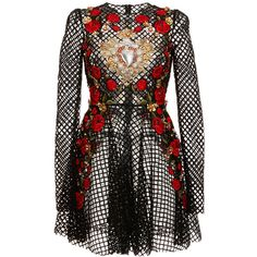 Dolce & Gabbana Netted Lace Rose Embroidered Long Sleeve Dress found on Polyvore featuring dresses, lace a line dress, black lace dress, a line dress, long sleeve black dress and lace cocktail dress