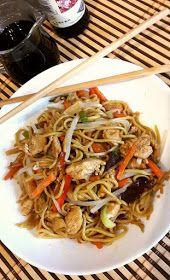 Andzia Pichci: Smażony makaron teriyaki z kurczakiem i warzywami Wok, Japchae, Chinese, Ethnic Recipes, Gastronomia, Diet, Chinese Language