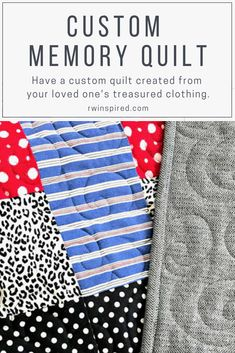 I understand how personal a memory quilt is, so I take great care in constructing a one of a kind piece that honors the treasured clothing you've entrusted to me. Beginner Quilt Patterns, Quilting For Beginners, Quilting Tutorials, Quilting Patterns, Quilting Ideas, Patchwork Patterns, Girl Scout Crafts, Machine Quilting Designs, Log Cabin Quilts