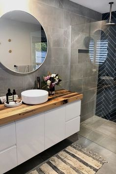 Looking for bathroom inspo that's anything but boring? This navy blue and charcoal bathroom with herringbone tile feature wall is sure to inspire! inspo Navy blue and charcoal bathroom Charcoal Bathroom, Modern Bathroom Sink, Diy Bathroom Decor, Bathroom Inspo, Modern Bathroom Design, Bathroom Colors, Bathroom Interior Design, Home Interior, Bathroom Inspiration