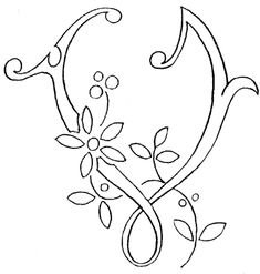 Monogram for Hand Embroidery - the letter V