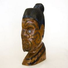 This hand-carved Maori warrior profile is made from New Zealand native matai wood. The carving has been hand-painted to highlight the moko (facial tattoo). This carving was made in Rotorua New Zealand.