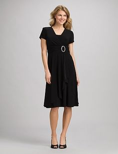 Compliments everyone.  Draped Surplice Dress | Dressbarn