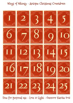Wings of Whimsy: Antique Christmas Countdown - free for personal use #vintage…