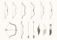 Hand Drawn Bows and Arrows Vectors Pack