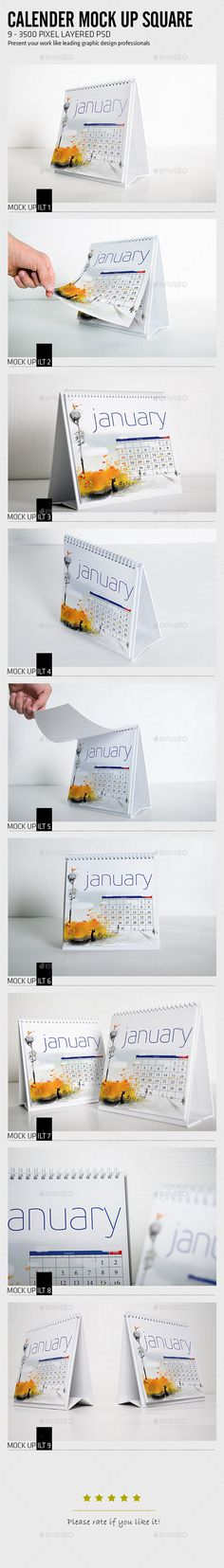 Calender Mock Up Square — Photoshop PSD #vertical calendar #year • Available here → https://graphicriver.net/item/calender-mock-up-square/17705545?ref=pxcr