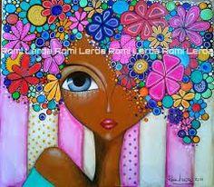"""""""Flowers in Maui"""" by Romi Lerda Art Pop, Karla Gerard, Dot Painting, Portrait Art, Face Art, African Art, Mixed Media Art, Altered Art, New Art"""
