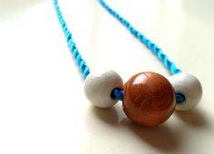 Electric blue silk cord knot necklace with wooden by gtgadabout
