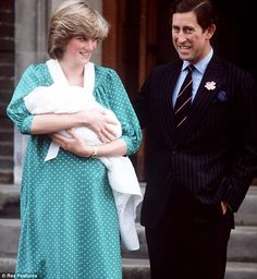Proud mother and father Princess Diana and Prince Charles on the steps of the Lindo Wing in 1982 when they presented the newborn first child Prince William to the world