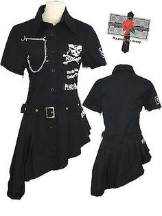 Dark Military Visual Kei Punk Slide Gothic Slim Fit Irregular NOIR Fighter Dress