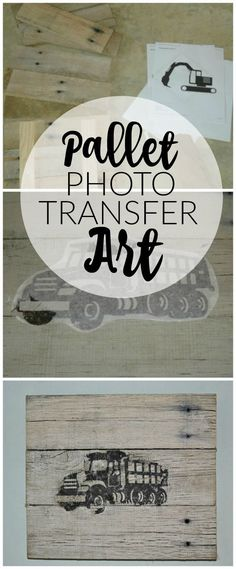 Turn pallets into the perfect wall decor with this easy photo transfer method! - http://Littlehouseoffour.com