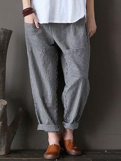 M-5XL Women Stripe Elastic Waist Casual Loose Harem Pants at Banggood