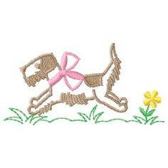 BLUE OR PINK BOW...CAN CHANGE ALL COLORS Gunold Embroidery Design: Running Dog 1.94 inches H x 3.79 inches W